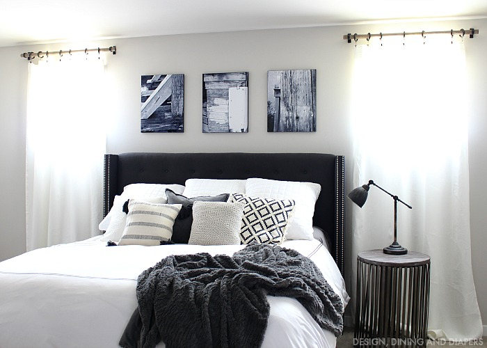 black and white bedroom diy bedroom makeover marries chic and rustic style 29906