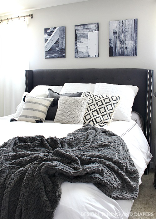 2-Charcoal-Gray-Tufted-Headboard-with-black-and-white-accents