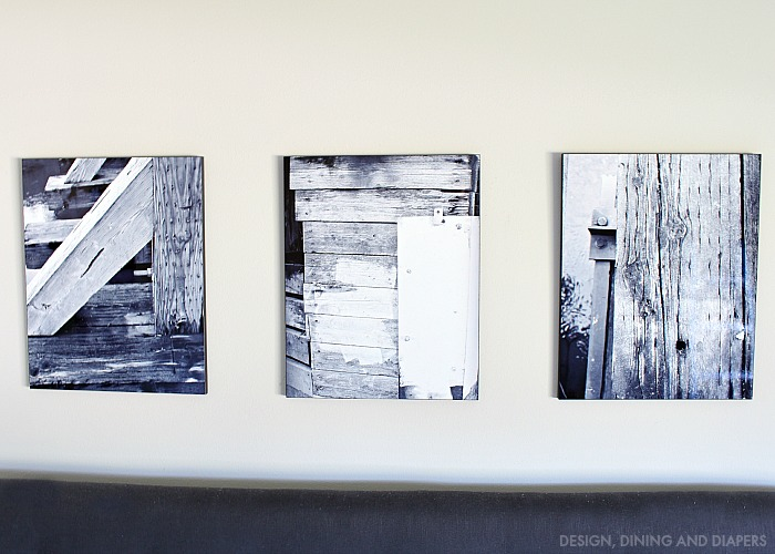 3 rustic black and white prints printed on